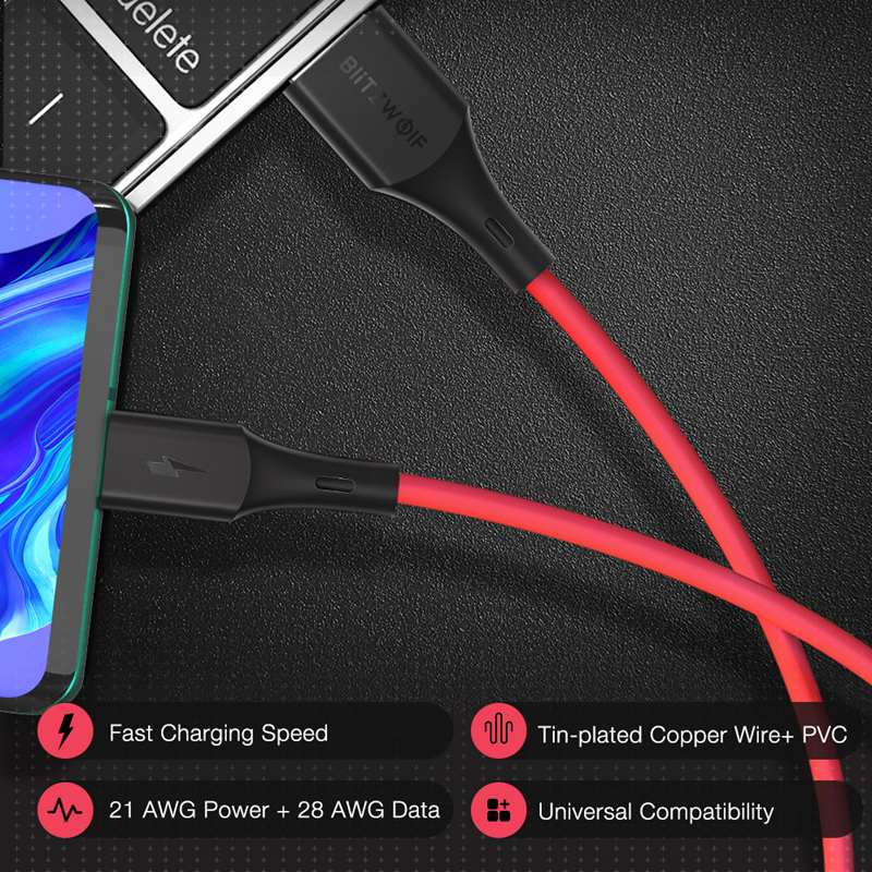 Blitzwolf BW-TC19 5A SuperCharge QC3.0 USB Type-C Charging Data Cable 0.9m/1.8m for HUAWEI P30 Pro