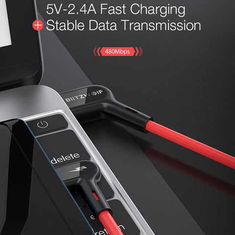 Blitzwolf Micro USB Cable 90° Right Angle 2.4A Fast Charge USB Data Cable for Xiaomi OPPO Huawei