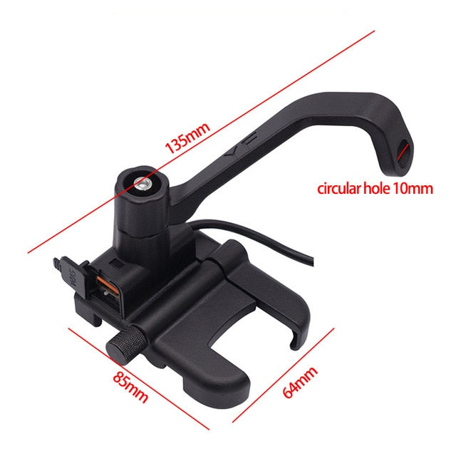 BuzzLee Motorcycle Universal Aluminum Alloy Phone Holder With USB Charger Handlebar Bracket for