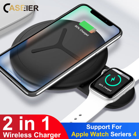 CASEIER 10W 2 in 1 QI Wireless Charger For iPhone X XS Max XR 8 Fast Charger For Apple Watch 4 3 2