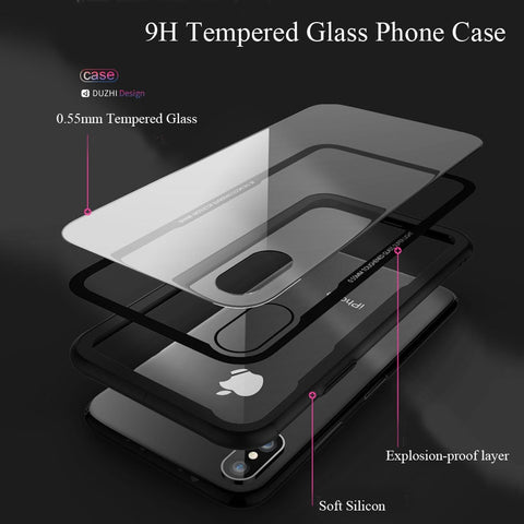 CASEIER Tempered Glass Phone Case For iPhone 7 8 XR XS Cases Glass Cover For iPhone X XS Max XR 6 6s