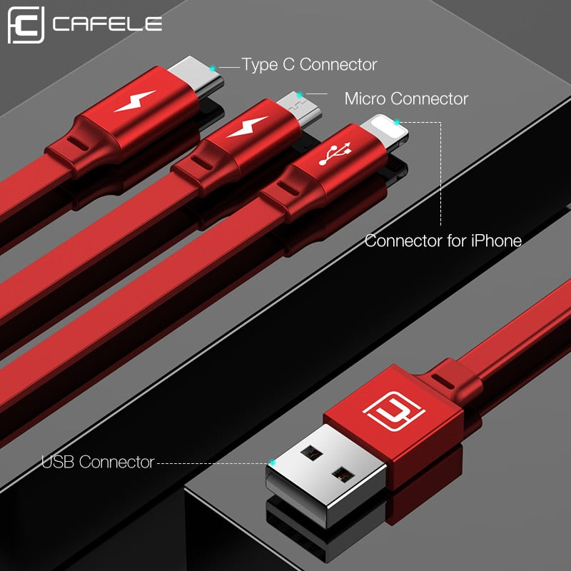 Cafele 3in1 USB Type C Micro USB Cable Type-c for iPhone Charger Cable 120cm 3A Fast Charging USB