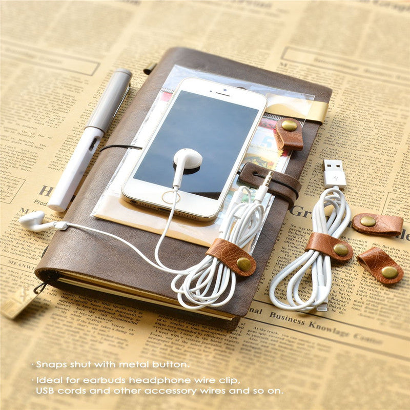 Cord Headphone Organizer Wrap Winder Handmade Leather Earphone Headset Phone Cable Winder Strap