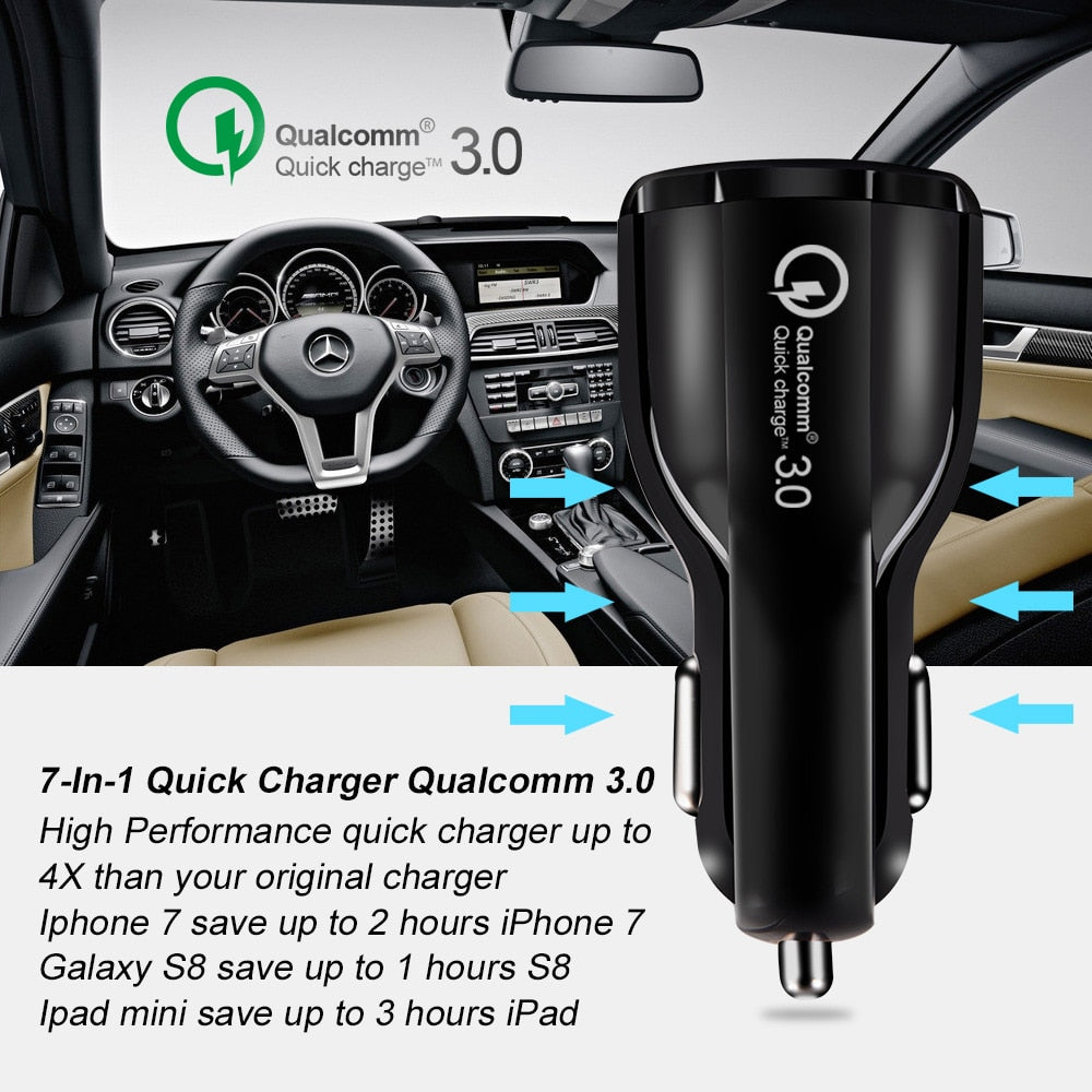 Crouch Quick Charge 3.0 Charger QC 3.0 5V 9V 12V Dual USB Car Charge Fast Charger Mobile Phone