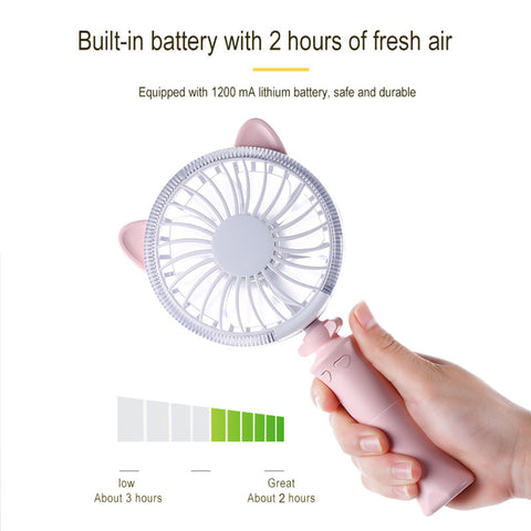 Cute Cat Ears Fan Portable Hand Fan Battery Operated USB Power Handheld Mini Fan Cooler Cooling