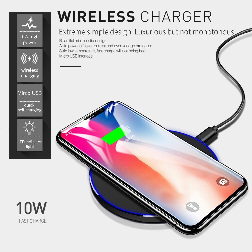 DCAE Qi Wireless Charger For iPhone 8 X XR XS Max QC3.0 10W Fast Wireless Charging for Samsung S9 S8