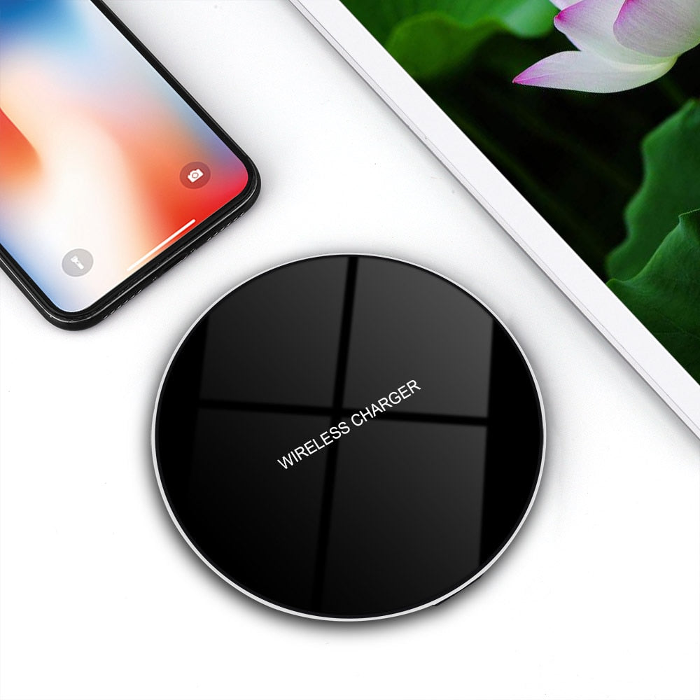 DCAE Qi Wireless Charger for iPhone X 8 XS Max XR 10W Fast Charging Pad Dock For Samsung S10 S9 S8