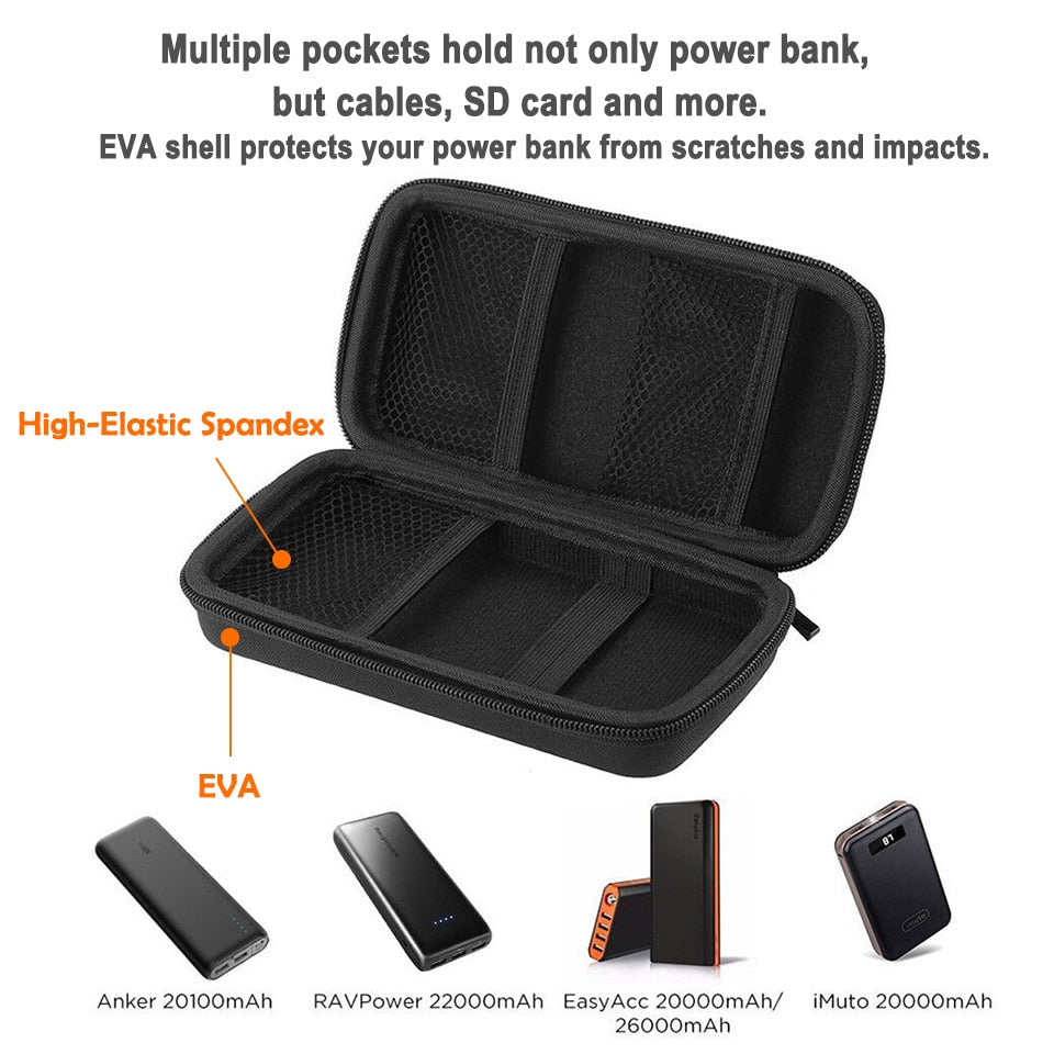 EasyAcc 20000mAh 26000mAh Power Bank Bag for Anker Aukey ROMOSS ROCK PISEN10000mAh External