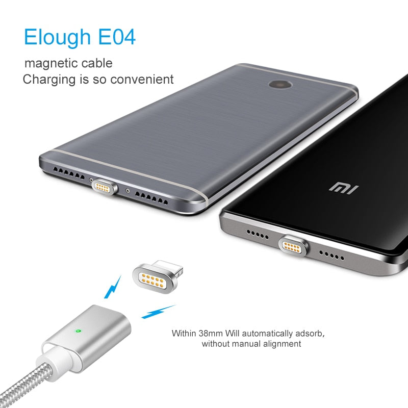 Elough E04 Magnetic Cable For iPhone Samsung Xiaomi Micro USB Type C Cable Fast Charging Mobile