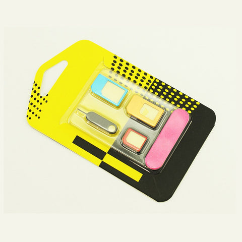 Etmakit 5 in 1 Nano Sim Card Adapters + Regular & Micro Sim + Standard SIM Card & Tools For iPhone 4