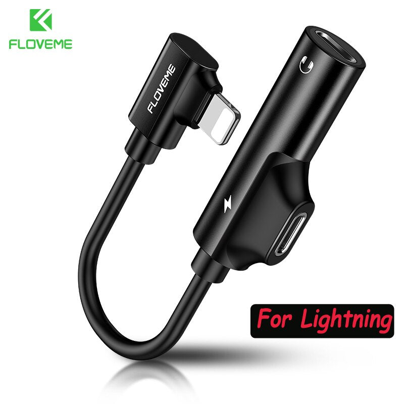 FLOVEME 2 in 1 Audio Adapter Charging Converter For iPhone X Xs 7 8 XR Charger Jack Splitter