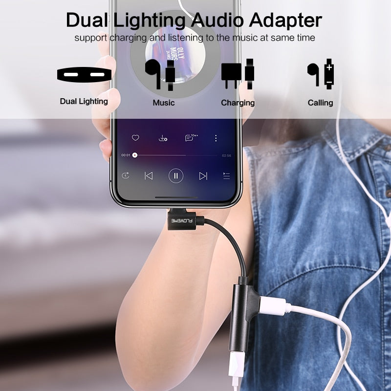 FLOVEME 2 in 1 Audio Adapter For iPhone XS MAX XR X 7 8 Plus Charging Audio Charger Adapter Lighting