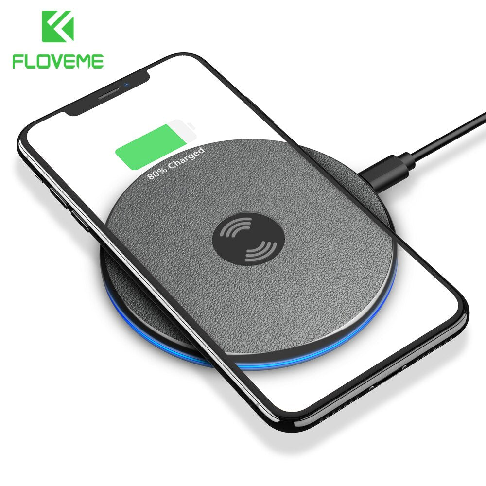 FLOVEME Qi Wireless Charger For iPhone X Xs Max Xr 8 Plus 9mm Ultra Thin Wireless Charging Pad For