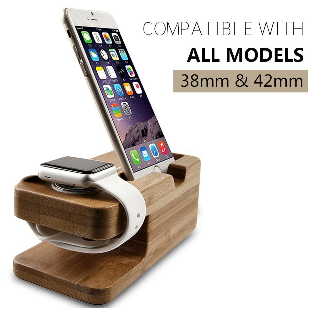 FM.HGQ Wooden Charging Dock Station for Mobile Phone Holder Stand Bamboo Charger Stand Base For