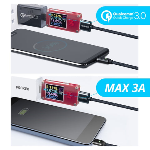FONKEN Magnetic Micro USB Cable Magnet USB Type C Charging Phone Cable 3A Mobile Quick Charger