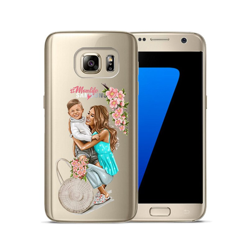 Fashion Black Brown Hair Baby Mom Girl Queen Soft TPU Cover For Samsung Galaxy S6 S7 Edge S8 S9 Plus