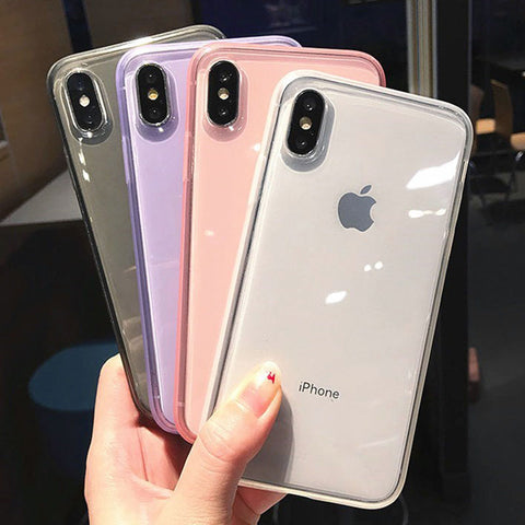 Fashion colorful Transparent Anti-shock Frame Phone Case For iPhone X XS XR XS Max 8 7 6 6S Plus