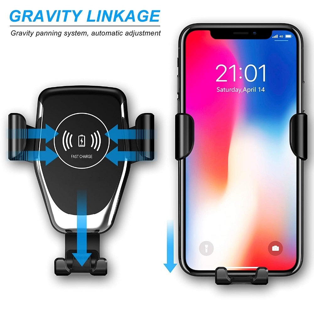 Fast 10W Qi Wireless Charger Car Mount Phone Holder Stand For iPhone XS Max XR X 8 Samsung S10 S9 S8