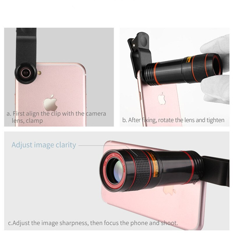 HD 12X Telescope Zoom Mobile Phone Lens Long Focus Monocular for iPhone Samsung LG Smartphones