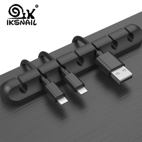 Cable Holder Silicone Cable Organiser Flexible USB Winder Management Clips Holder