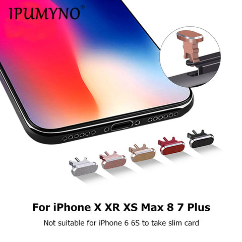 IPUMYNO 2 IN 1 Metal Aluminum Anti Dust Plug + Sim Card Tray Pin Mobile Phone Charger Port Plug