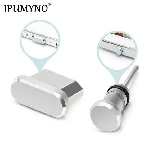 IPUMYNO Metal Micro USB Charging Port + Earphone Port Dust Plug for Android Phone 3.5mm Jack Headset