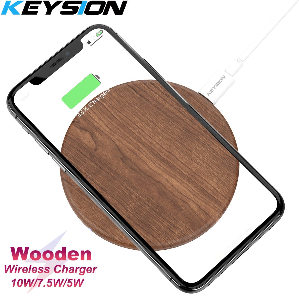 KEYSION 10W Qi Fast Wireless Charger for iPhone XS Max XR 8 Plus Wireless Charging Wood Desktop