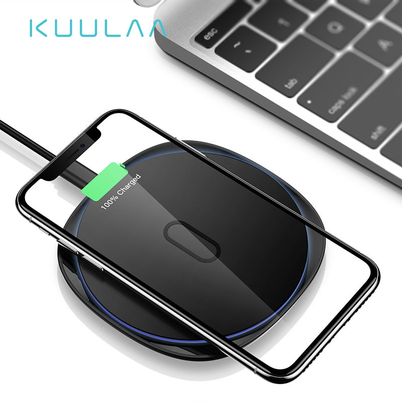 KUULAA 10W Qi Wireless Charger For iPhone X/XS Max XR 8 Plus Zinc Alloy Metal Wireless Charging