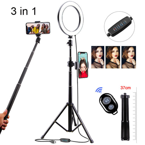 LED Ring Light 20cm Lamp Dimmable Photography Studio Phone Video Photo Camera With 130CM Tripod Bluetooth Selfie Stick Shoot