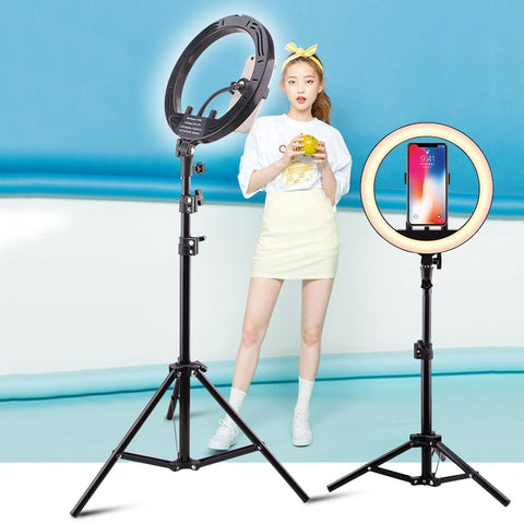 "LED Selfie Ring Light Photo Studio 10"" 15W Stepless adjusted Warm& Cold Lighting Youtube Photographic Selfie Light Phone Holder"