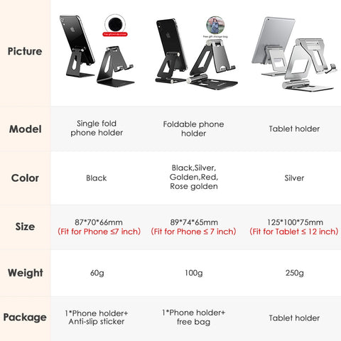 LINGCHEN Phone Holder Stand for iPhone 11 Xiaomi mi 9 Metal Phone Holder Foldable Mobile Phone Stand