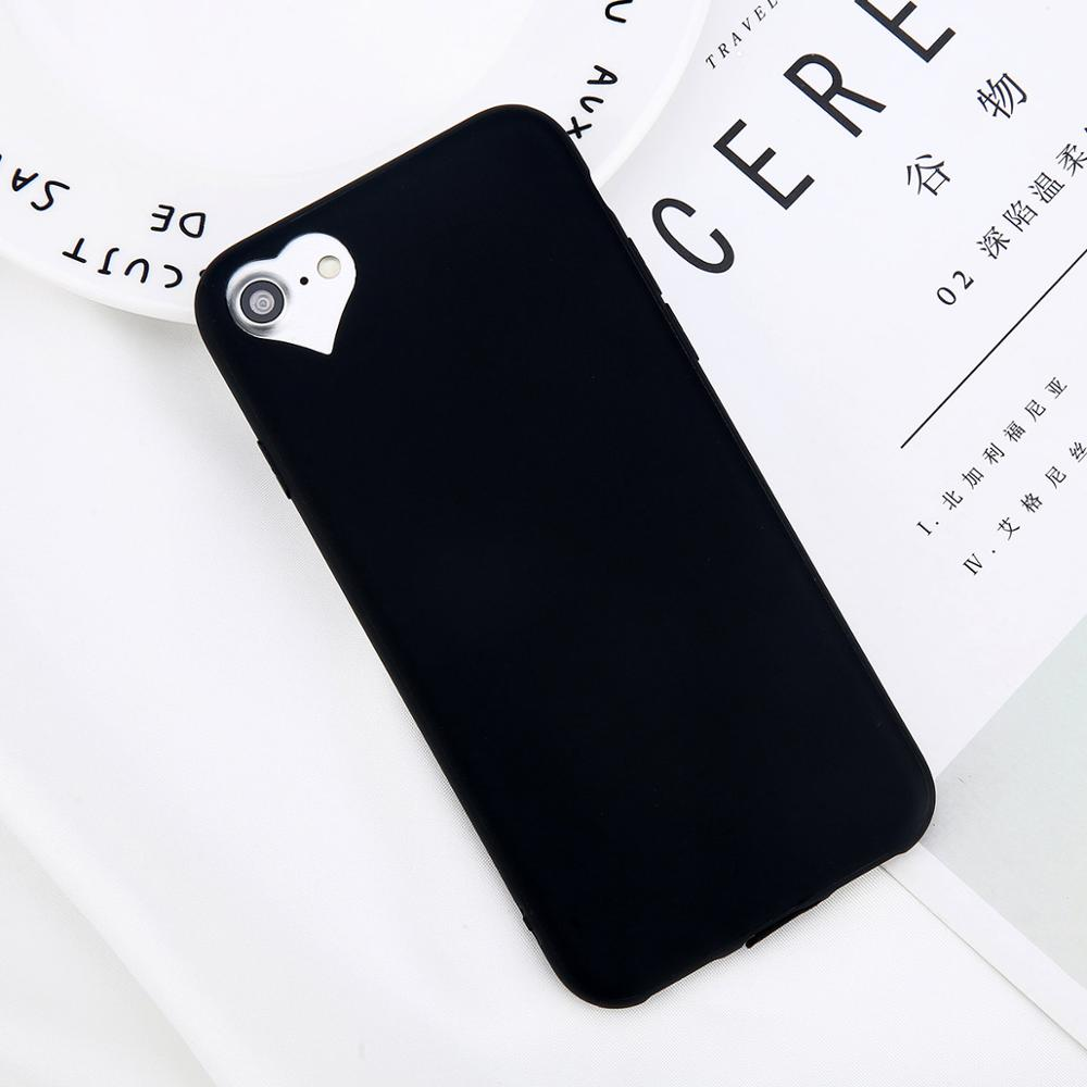 Lovebay Phone Case For iPhone 6 6s 7 8 Plus 5 5s SE Fashion Candy Solid Color Love Heart Soft
