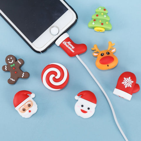 Lovely Christmas Bite Cable Data Line Protector for iPhone USB Earphone Cord Protection Christmas