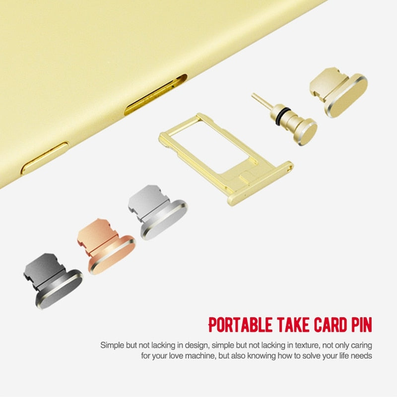 Metal Charging Port 3.5mm Earphone Jack USB Dust Plug Set For iPhone XS Max XR X 8 7 7 6 6S Plus 5