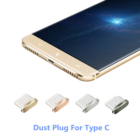 Metal Type C Dust Plug Type C Cap Plugs Phones For Xiaomi Mi5 Mi6 Huawei P9 P10 USB Type C Charger