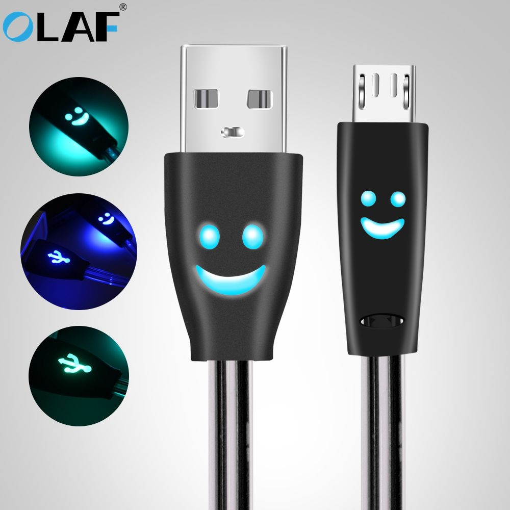 Micro USB Cable Smiling Face Glowing LED light Fast Charge USB Data Cable For iPhone Android