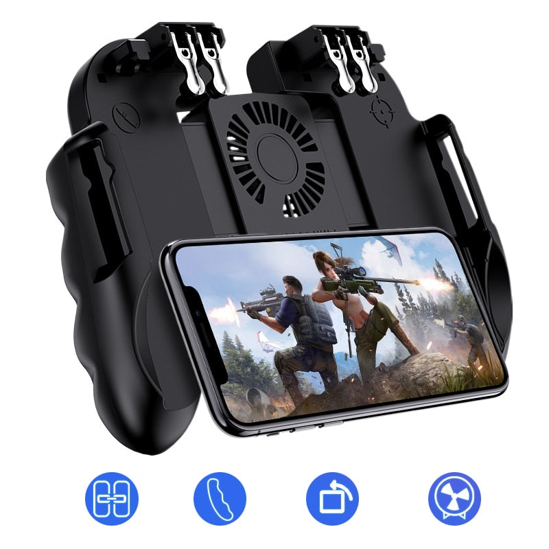 Mobile Phone Controller Gamepad With Cooler Cooling Fan For iOS Android Smartphone 6 Fingers