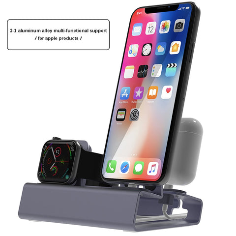 NEW Aluminum 3 in 1 Charging Dock For iPhone X XR XS Max 8 7 Apple Watch Charger Holder For iWatch
