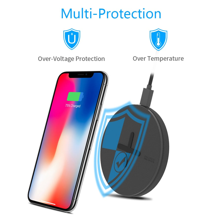 NILLKIN Button 10W fast Qi Wireless Charger for Samsung S10/S10e/S8/Note 8 Mini Wireless Charging