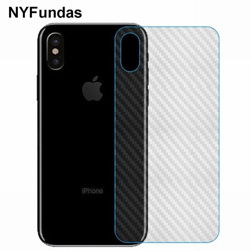 NYFundas 10PCS Carbon Fiber Protector Back Film Sticker for Apple iPhone X 8 Plus 7 6 6S 5 5S SE 4