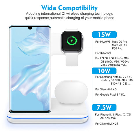NYFundas 15W Wireless Holder Station 3 in 1 Fast Charger For Apple Watch Series 4 3 2 Iphone XS