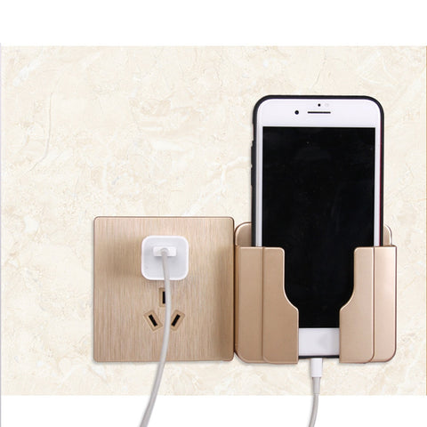 Practical Wall Sticking Phone Holder Socket Paste Type Adhesive Charge Up Cell Phones