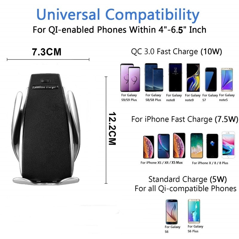 Newest 10W Qi Car Wireless Charger For iPhone XS X 8 Automatic Mobile Phone Holder Fast Wireless