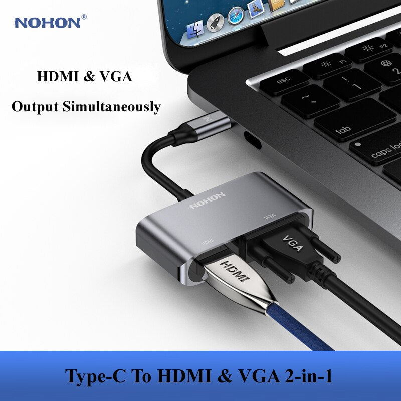 Nohon USB Type C HUB to HDMI VGA Adapter for MacBook Samsung Galaxy S9/Note 9 Huawei P20 Pro Mate 20