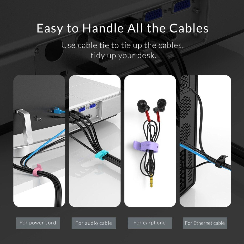 ORICO Silicone Phone Cable Organizer Wire Winder Cable Holder for Data Cable Mouse Cord Earphone