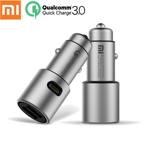 Original Xiaomi Mi Car Charger QC3.0 X2 Dual USB Quick charge Max 5V/3A 9V/2A 15V/1.5A Metal Style