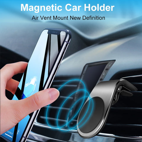 Overfly Magnetic Car Phone Holder L Shape Air Vent Mount Stand in Car Magnet GPS Mobile Phone Holder
