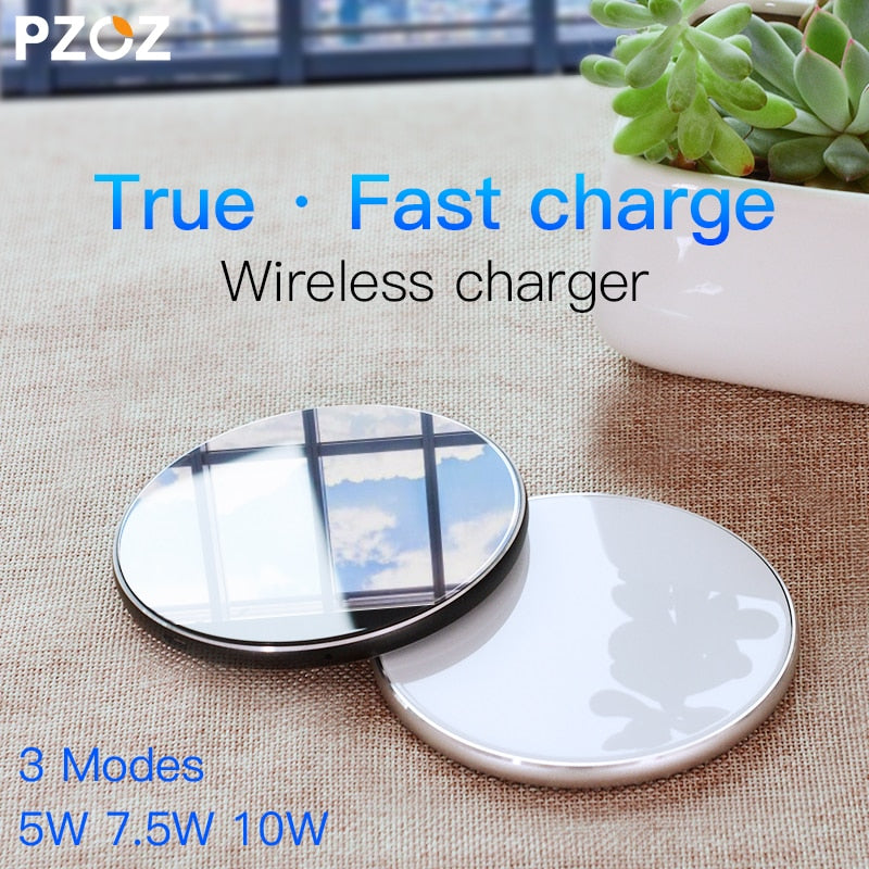 PZOZ Breathing light 10w wireless charger Qi wireless charger Pad for iphone Xs Max XR Samsung S10