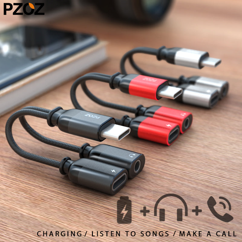 PZOZ USB Type C male to 3.5mm Jack Earphone Adapter Cable AUX Audio For Xiaomi Mi 6 6x Huawei P20