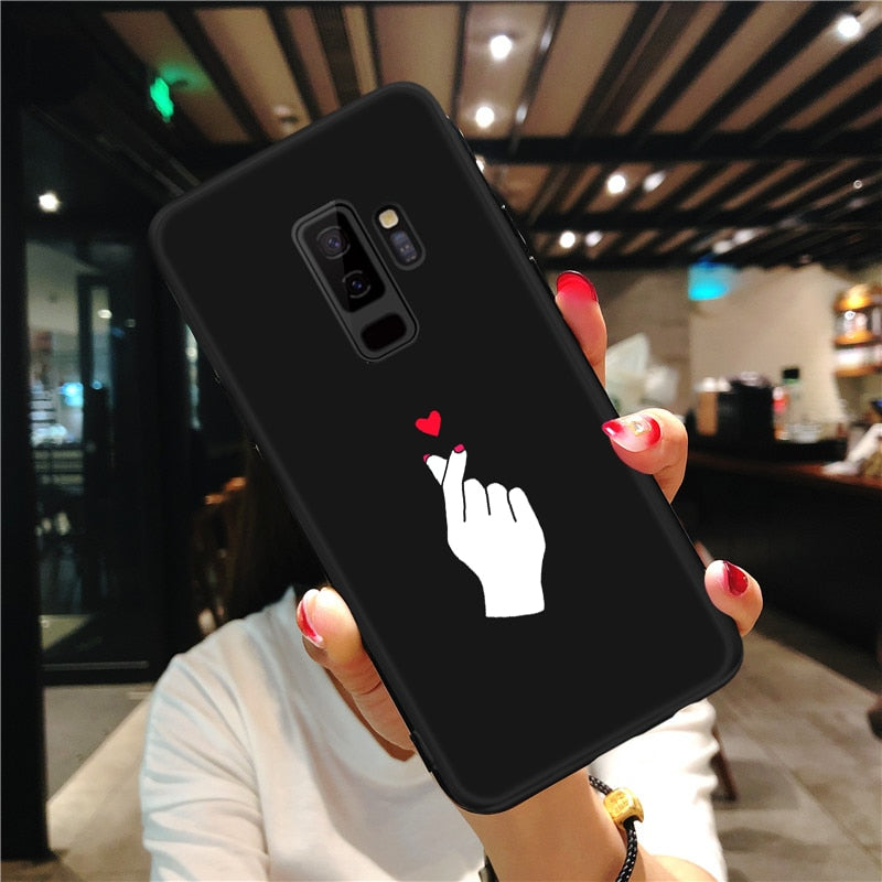 Pattern Case For Samsung Galaxy S8 S9 Plus Note 8 9 A8 A6 Plus 2018 A5 A7 2017 Black Matte Cover For